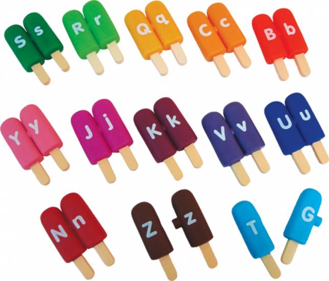 Alpha ijsjes (alpha pops) spelen met letters en kleuren